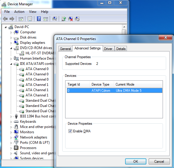 how to change to dma mode in windows 7