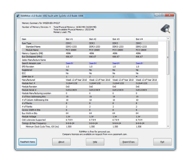 PassMark RAMMon - Identify RAM type, speed & memory timings